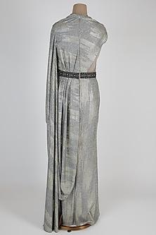 Grey Metallic Draped Saree With Belt by Shantanu & Nikhil