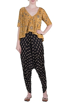 Mustard embroidered top with dhoti pants by Natasha J