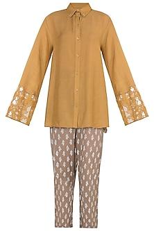 Mustard embroidered shirt and pants by Natasha J