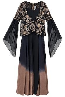 Black embroidered ombre jumpsuit set by Natasha J