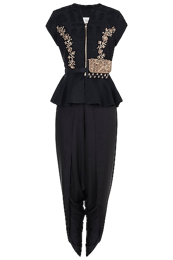 Black embroidered peplum blouse with pants by Natasha J