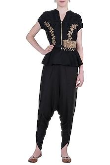 Black embroidered peplum blouse with pants by Natasha J