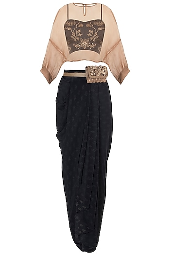 Black embroidered printed bustier with skirt and jacket by Natasha J