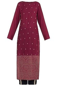Raspberry embroidered and printed kurta with pants by Natasha J