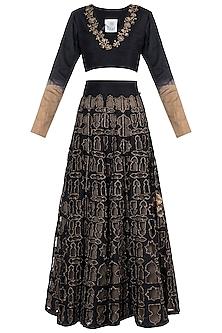 Black embroidered lehenga set by Natasha J