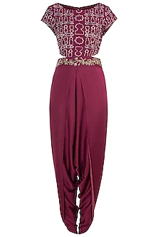 Raspberry embroidered tie dye dhoti jumpsuit by Natasha J
