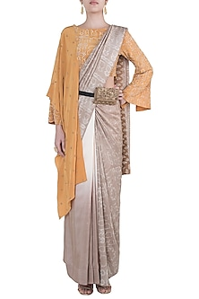 Mushroom grey embroidered saree set by Natasha J