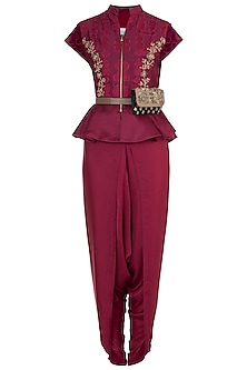 Raspberry embroidered peplum blouse with pants by Natasha J