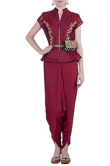 Raspberry embroidered peplum blouse with pants by Natasha J