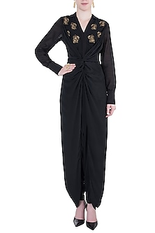 Black embroidered dhoti jumpsuit by Natasha J