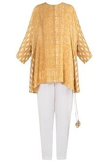 Mustard printed tunic with pants by Natasha J