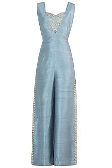 Mineral blue embroidered jumpsuit set by Natasha J