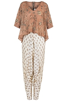 Beige embroidered top with dhoti pants by Natasha J