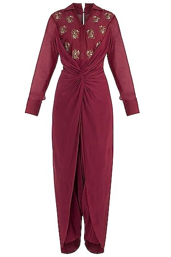 Raspberry embroidered dhoti jumpsuit by Natasha J