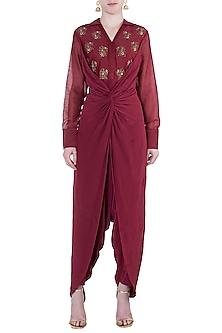 Raspberry embroidered dhoti jumpsuit by Natasha J