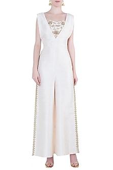 Off white embroidered jumpsuit set by Natasha J