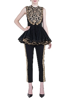 Black embroidered jumpsuit set by Natasha J
