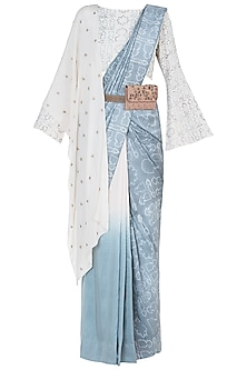Mineral blue embroidered saree set by Natasha J