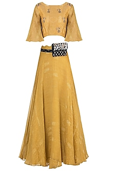 Mustard embroidered printed skirt with crop top and kamarbandh by Natasha J