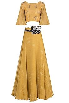 Mustard embroidered printed skirt with crop top and kamarbandh by Natasha J