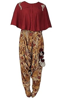 Red floral embroidered cape and printed dhoti pants set by Natasha J