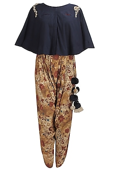 Blue floral embroidered cape and printed dhoti pants set by Natasha J