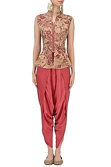 Beige and Red Mesh Print Peplum Top with Dhoti Pants Set by Natasha J