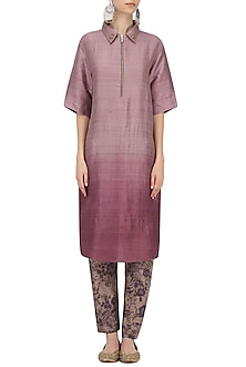 Purple Short Kurta with Mesh Print Pants by Natasha J