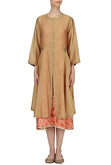 Beige Embroidered Front Open Jacket with Orange Mesh Print Slip by Natasha J