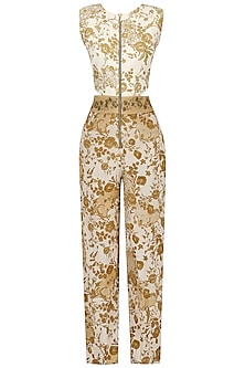 Off White and Beige Embroidered Mesh Print Jumpsuit by Natasha J