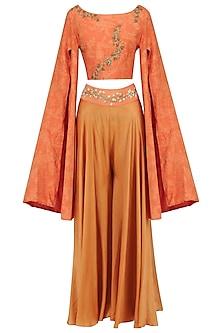 Orange Mesh Print Crop Top with Embroidered Palazzo Pants by Natasha J