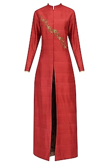 Red Embroidered Jacket Kurta with Mesh Print Pants by Natasha J