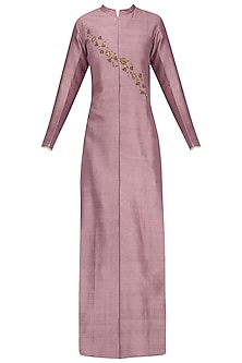Purple Embroidered Jacket Kurta with Grey Mesh Print Pants by Natasha J