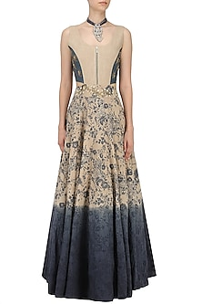 Blue and Grey Embroidered Mesh Print Gown by Natasha J