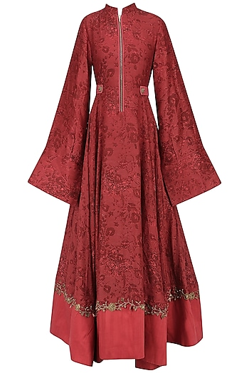 Red Embroidered Mesh Print Anarkali by Natasha J