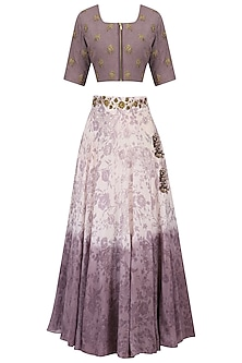 Purple Embroidered Mesh Print Lehenga Set by Natasha J