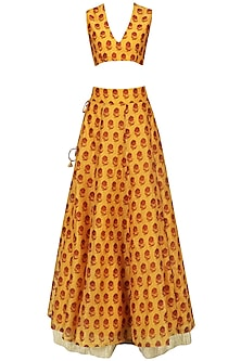 Mustard Floral Printed Lehenga with Blouse and White Shirt by Natasha J