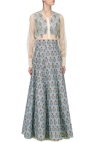 Ash Blue Floral Printed Lehenga with Blouse and White Shirt by Natasha J
