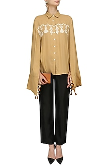Beige and White Block Print Tassel Shirt by Natasha J