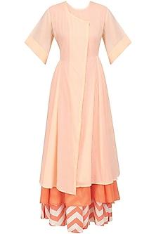 Pink Kurta with Orange Slip and Printed Palazzo Pants by Natasha J