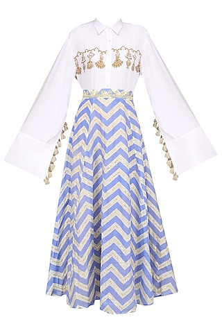 White Tassel Hanging Shirt with Blue Printed Skirt by Natasha J