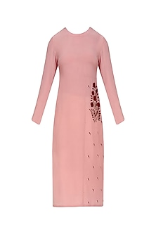Nude Pink and Red Floral Embroidered Straight Kurta by Natasha J