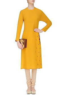 Yellow and Red Floral Embroidered Straight Kurta by Natasha J