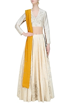 Off White Embroidered Blouse and Lehenga Skirt with Mustard Dupatta by Natasha J