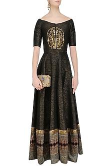Black Floral Embroidered Off Shoulder Anarkali Gown by Natasha J