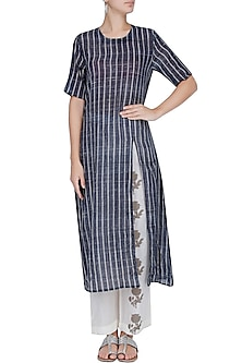 Blue and White Striped Straight Cut Kurta With Off White Narrow Pants by Natasha J