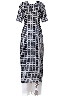 Red and White Checkered Straight Cut Kurta With Off White Narrow Pants by Natasha J