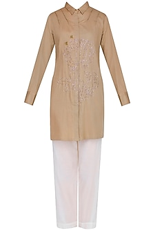 Khakhi Embroidered Classic Shirt With Narrow Pants by Natasha J