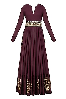 Mauve Zardozi Motifs Floor Length Anarkali with Embroidered Waistbelt by Natasha J