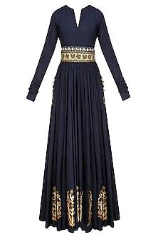 Navy Blue Zardozi Motifs Floor Length Anarkali with Embroidered Waistbelt by Natasha J